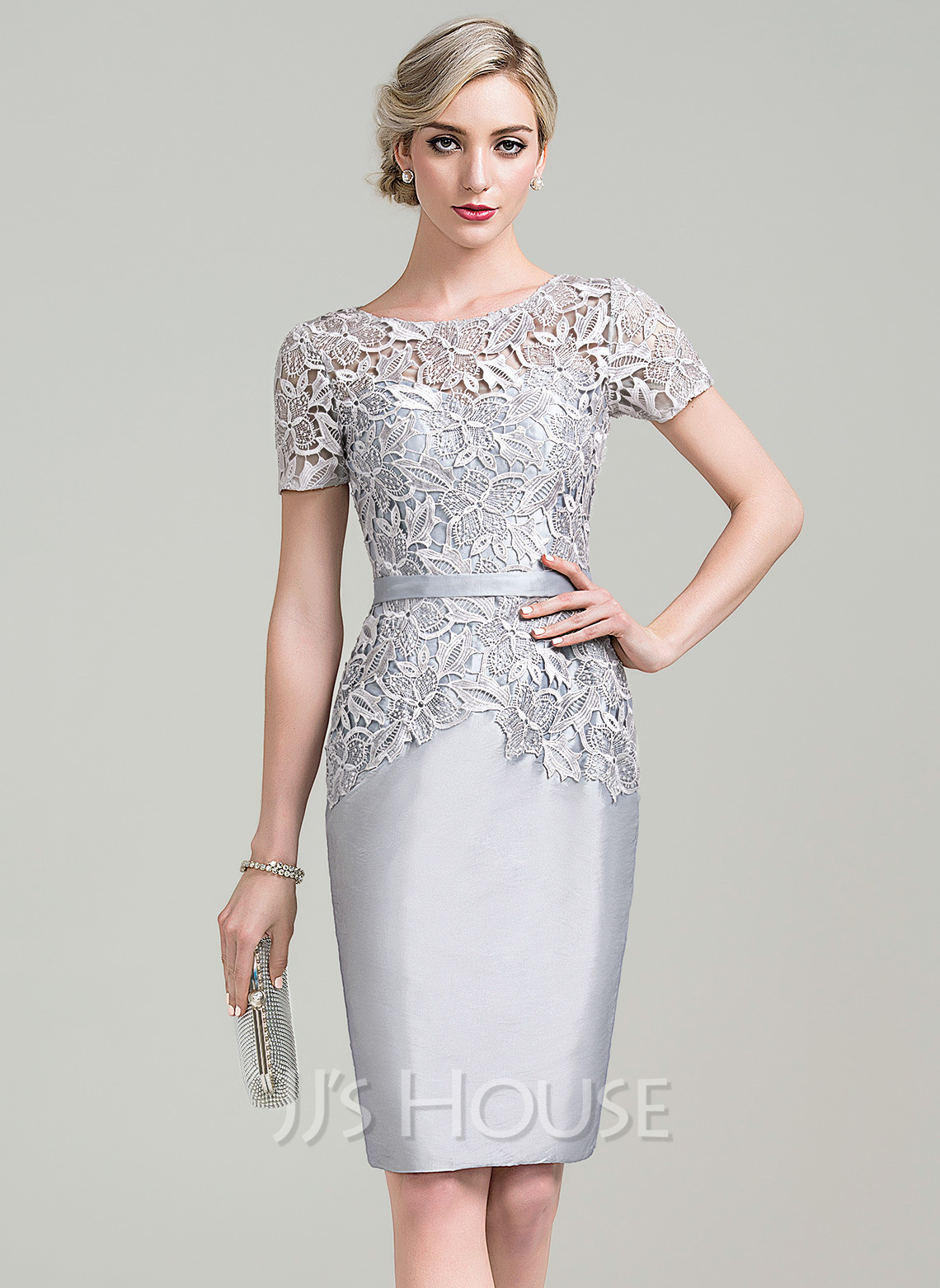 03be7b8e6a5 Sheath Column Scoop Neck Knee-Length Taffeta Lace Mother of the Bride Dress.  Loading zoom