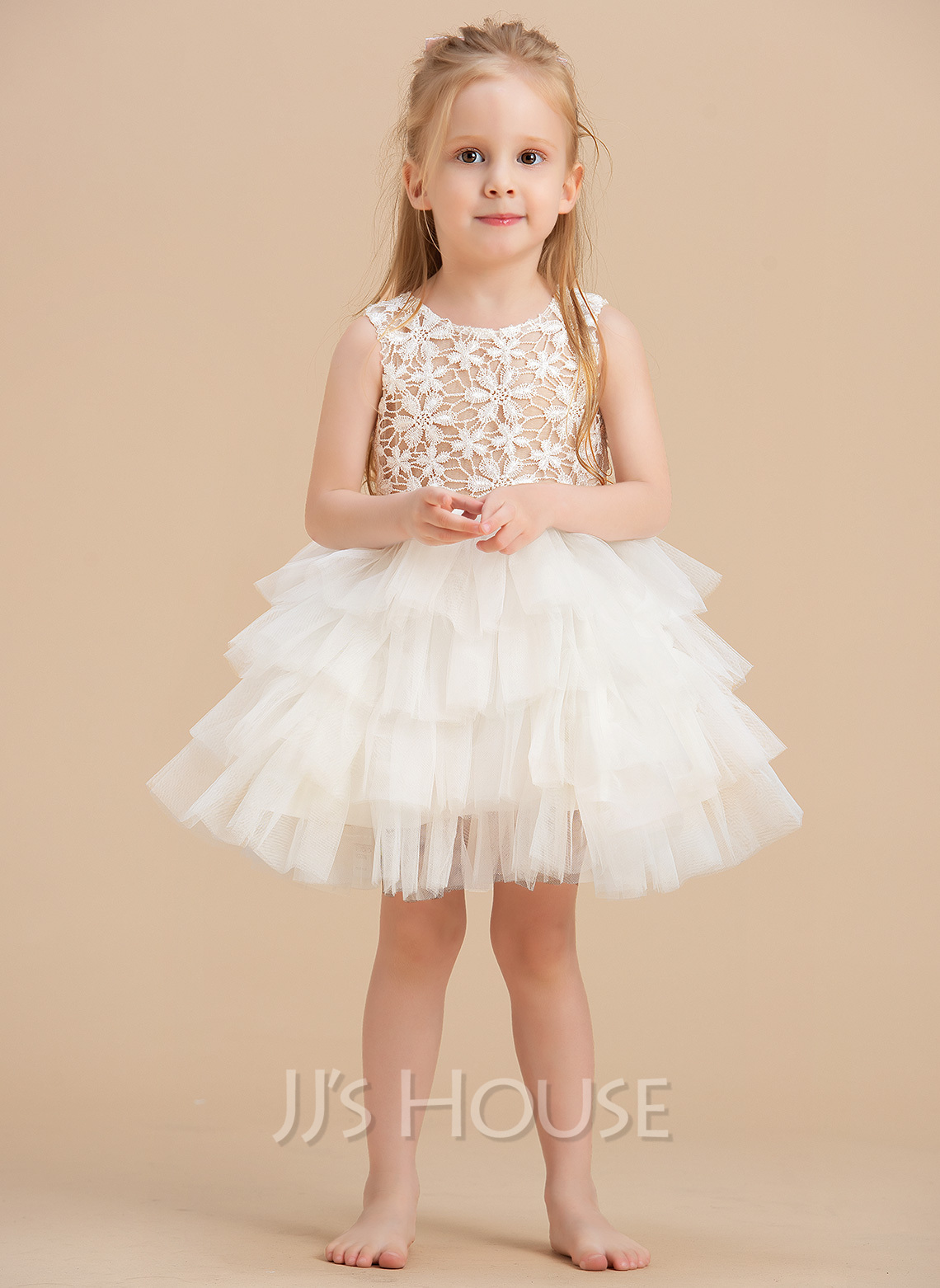 Ball-Gown/Princess Knee-length Flower Girl Dress - Satin/Lace/Cotton Sleeveless Scoop Neck