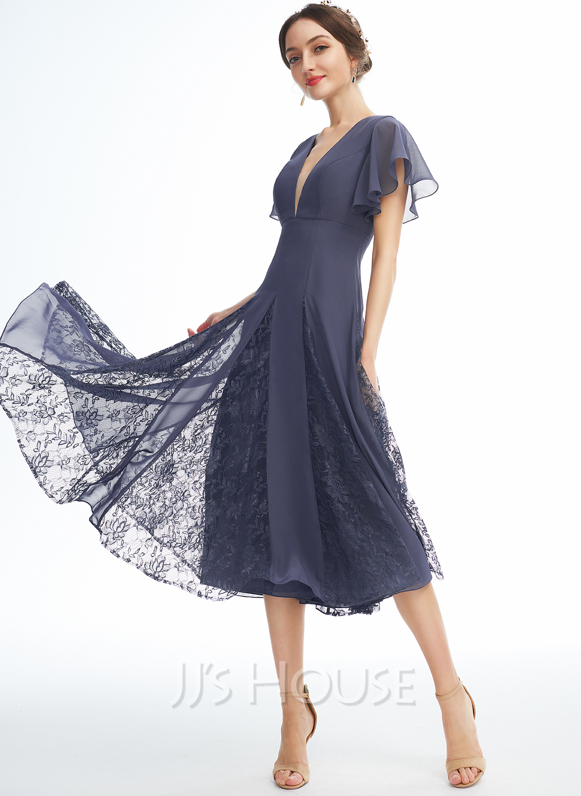 A-Line V-neck Knee-Length Bridesmaid Dress With Ruffle