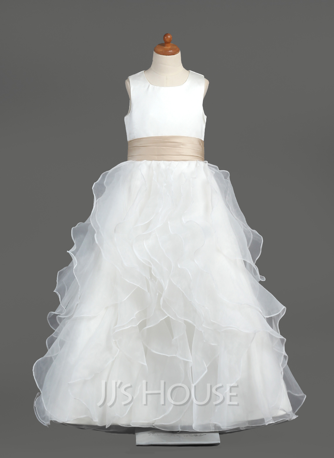 585498acd Ball Gown Floor-length Flower Girl Dress - Organza/Satin Sleeveless Scoop  Neck With. Loading zoom