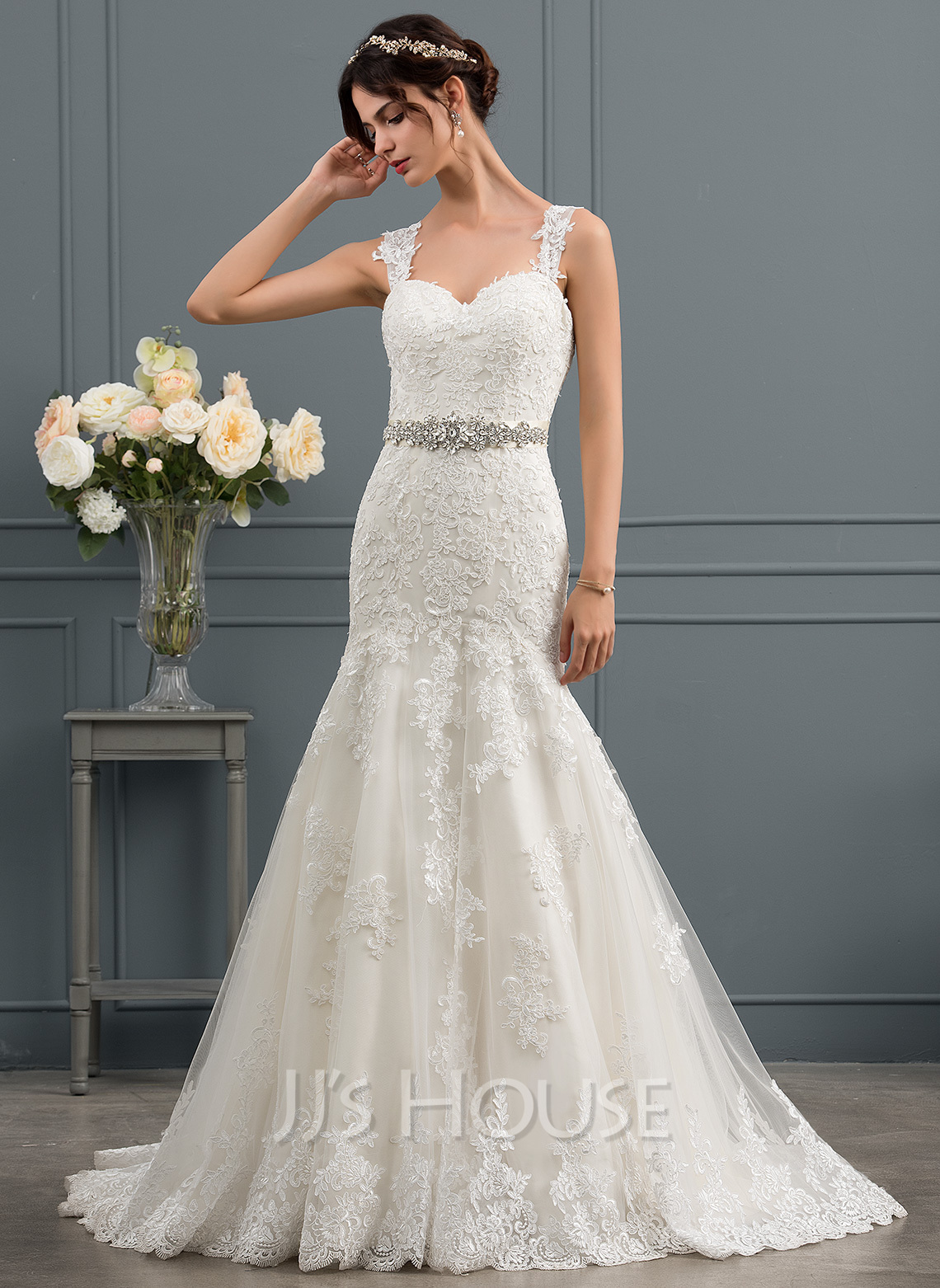 Trumpet/Mermaid Sweetheart Sweep Train Tulle Wedding Dress