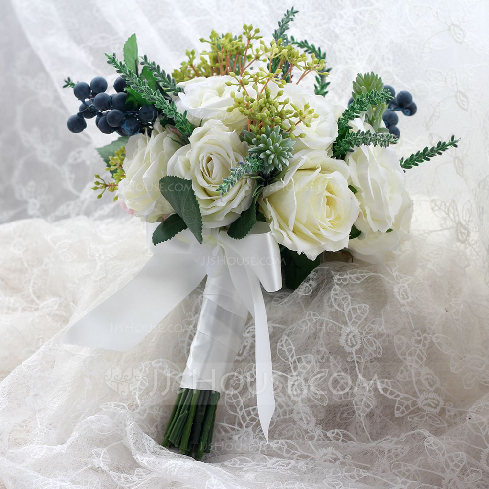 Wedding Flowers Reviews: Lovely Hand-tied Cloth/Ribbon Bridal Bouquets (123093722