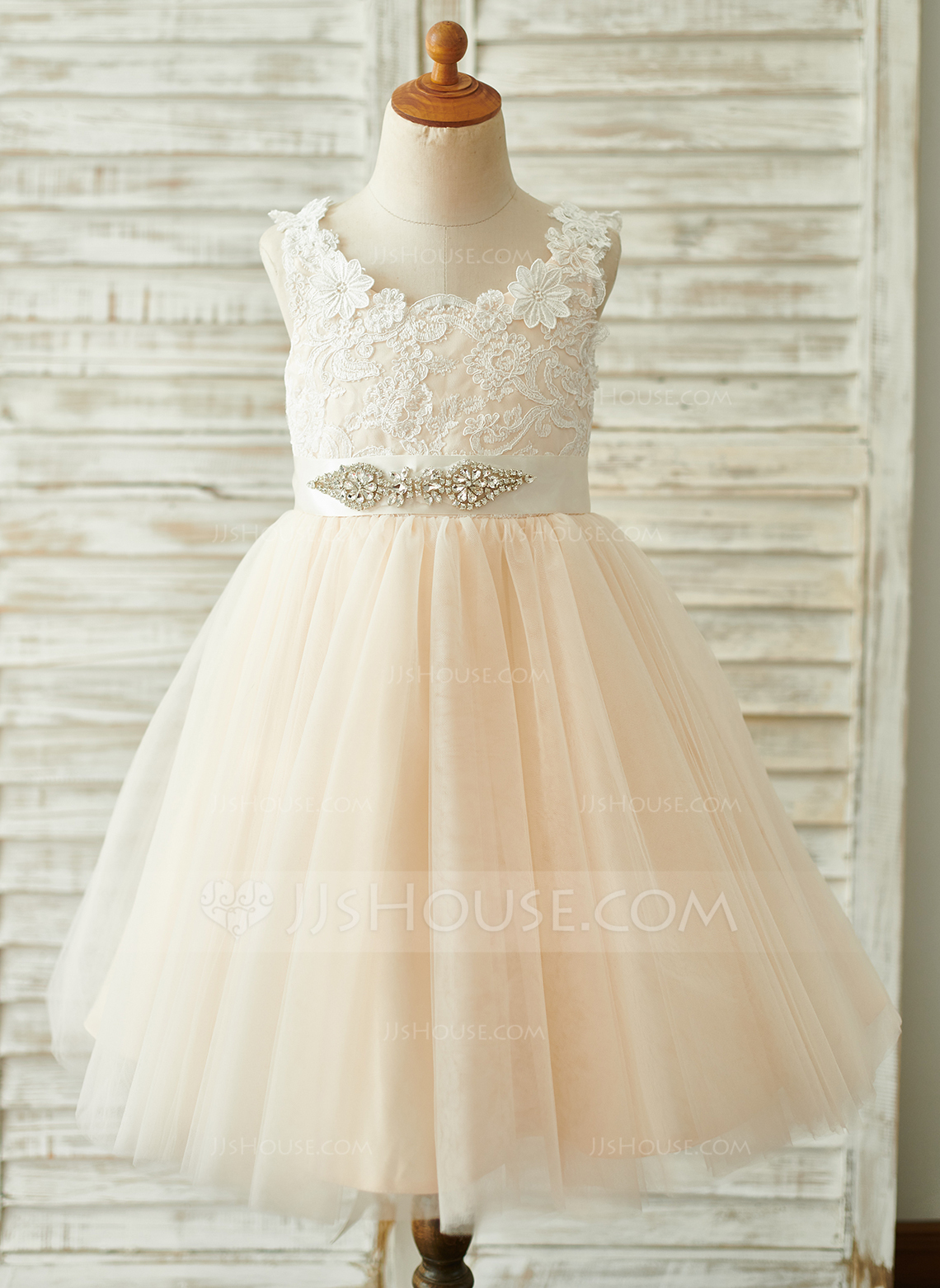 4daab19604bd A-Line Knee-length Flower Girl Dress - Tulle/Lace Sleeveless Scoop Neck. Loading  zoom