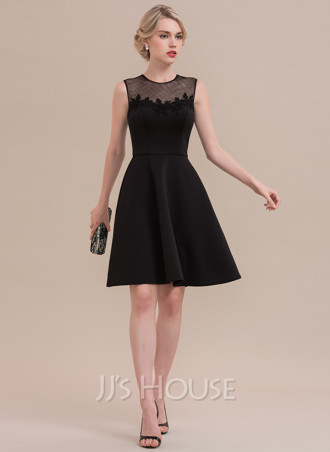 A-Line Scoop Neck Knee-Length Jersey Cocktail Dress With Lace