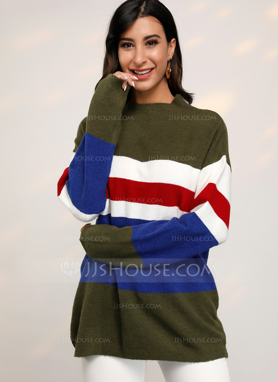 Striped Polyester Round Neck Pullovers Sweaters