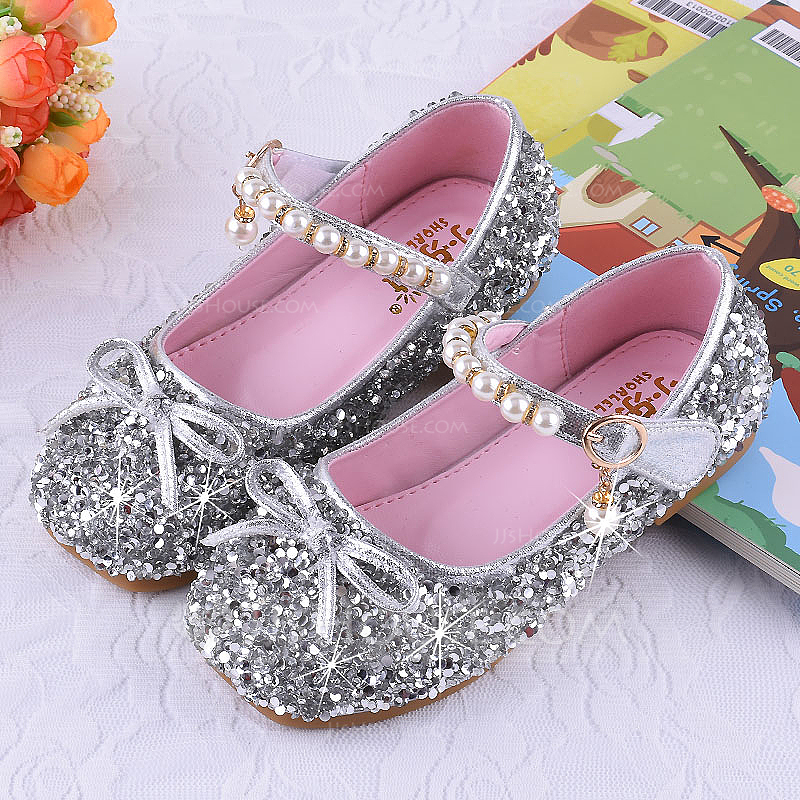 cfb44bc38f97 Girl s Round Toe Closed Toe Leatherette Sparkling Glitter Flat Heel Sandals Flats  Flower Girl Shoes With. Loading zoom