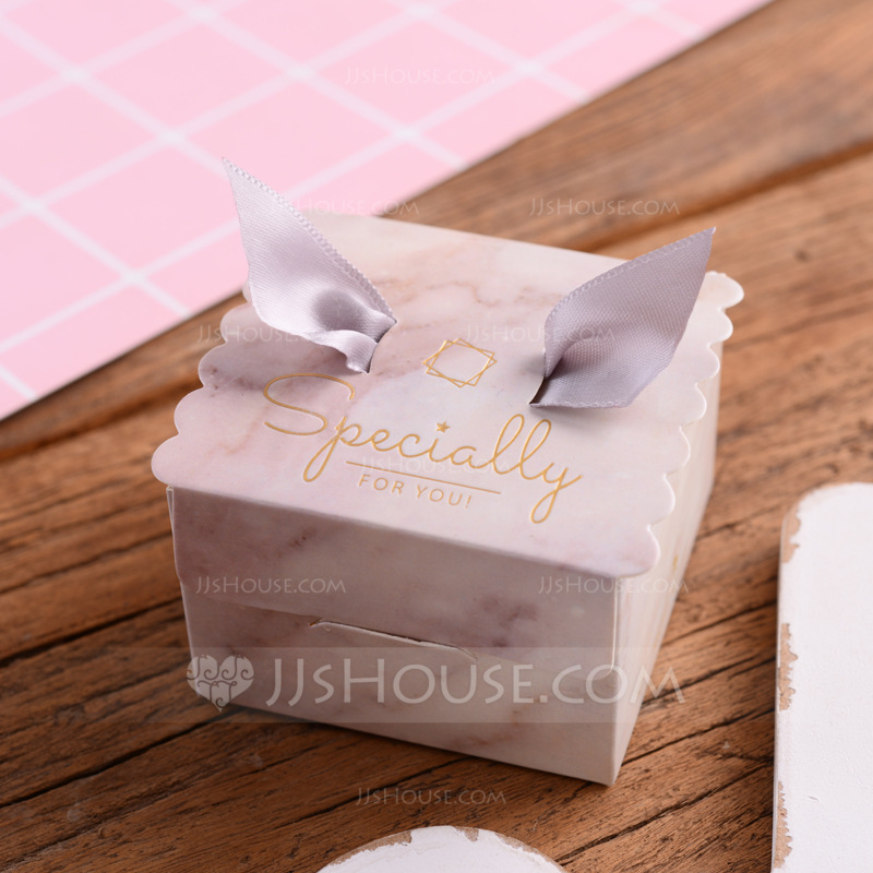 Sweet Love Cubic Card Paper Favor Boxes With Ribbons (Set of 30)