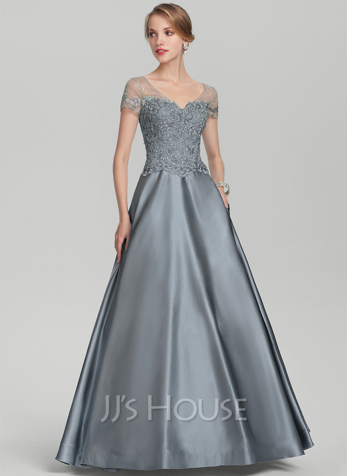 A-Line V-neck Floor-Length Satin Lace Mother of the Bride Dress With Beading Sequins