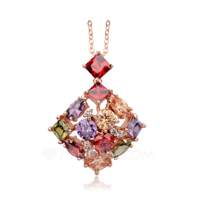 Elegant Copper/Zircon Ladies' Necklaces