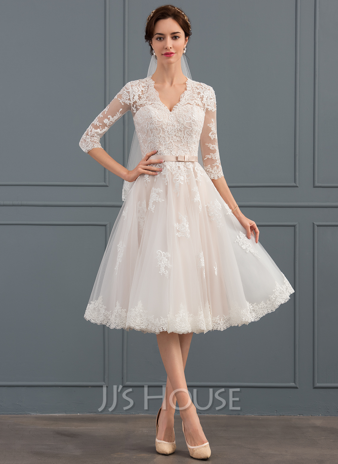 wedding reception dresses a line princess v neck knee length tulle wedding dress 9895