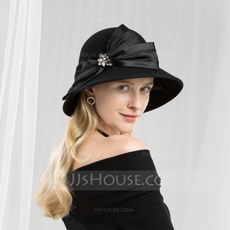 Ladies  Glamourous Classic Simple Vintage Artistic Wool With Rhinestone  Floppy Hat. Loading zoom 2567e629ba04