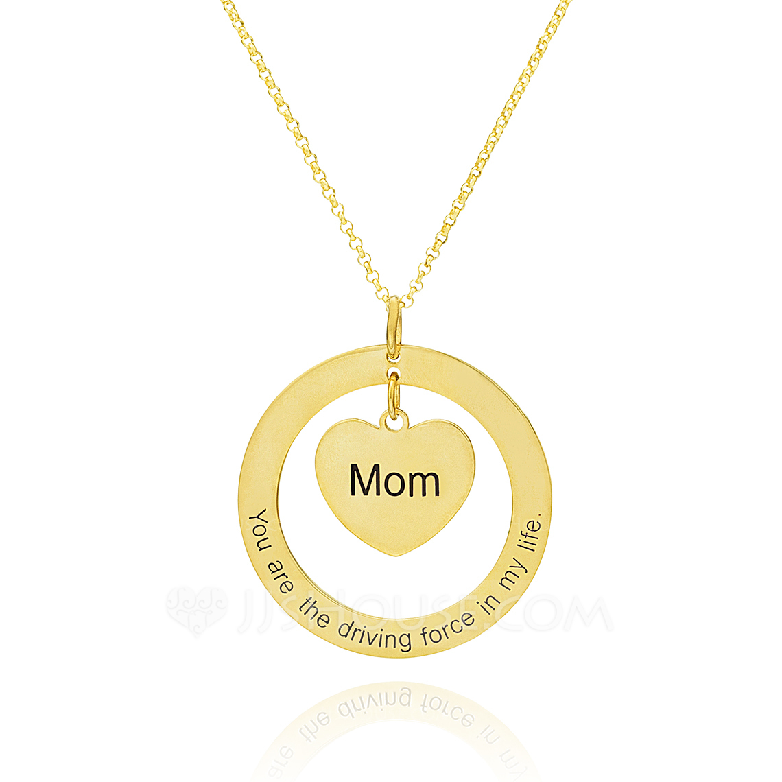 Custom 18k Gold Plated Silver Engraving/Engraved Circle Engraved Necklace Circle Necklace With Heart - Birthday Gifts Mother's Day Gifts
