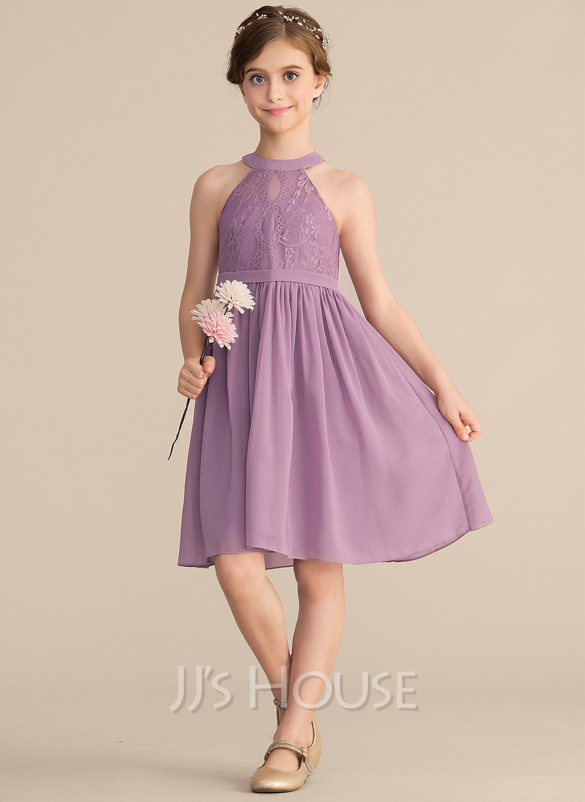 d3c42a74a18 A-Line Princess Scoop Neck Knee-Length Chiffon Lace Junior Bridesmaid Dress.  Loading zoom