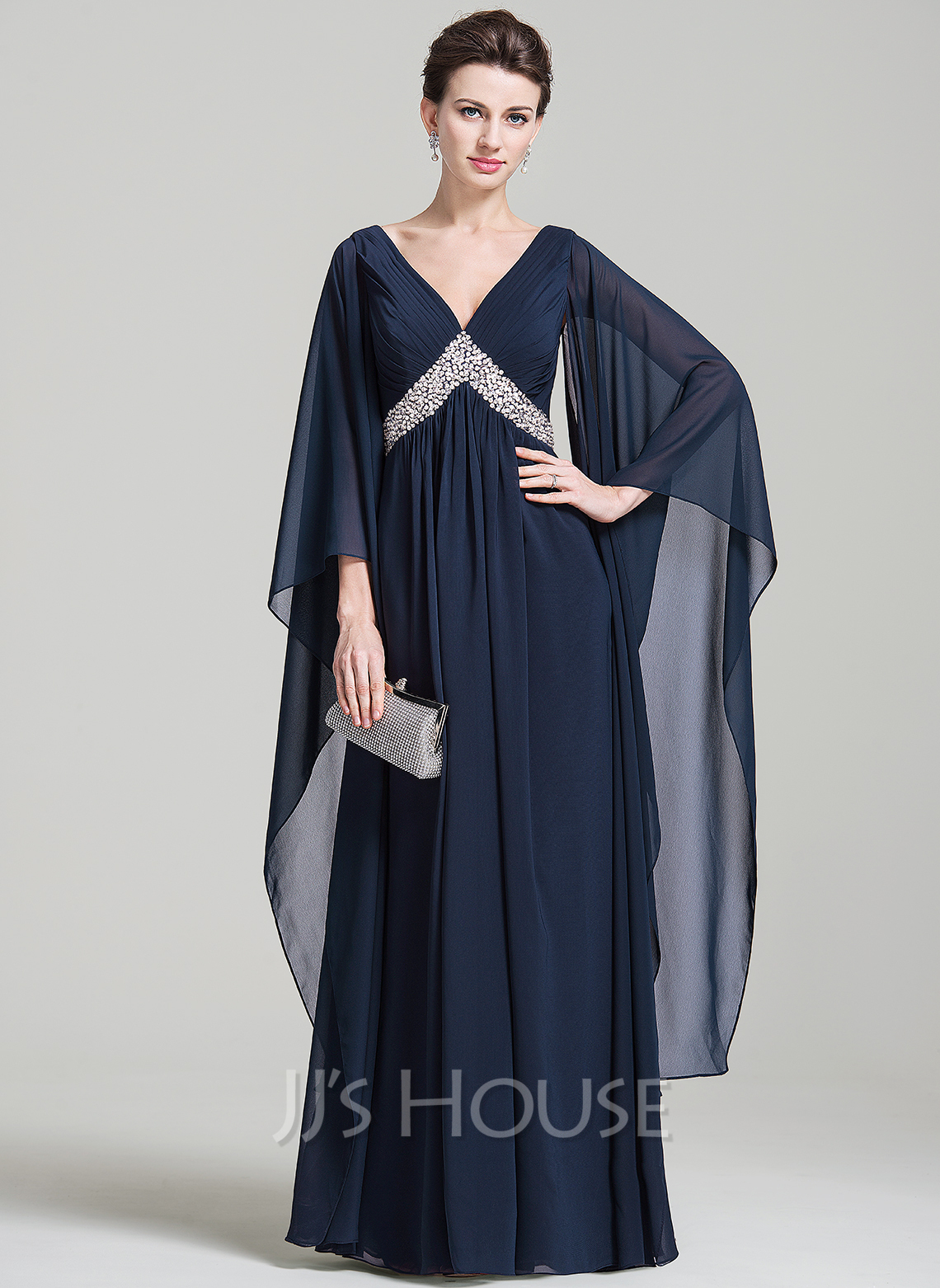 Empire V-neck Floor-Length Chiffon Mother of the Bride Dress With Ruffle Beading Sequins