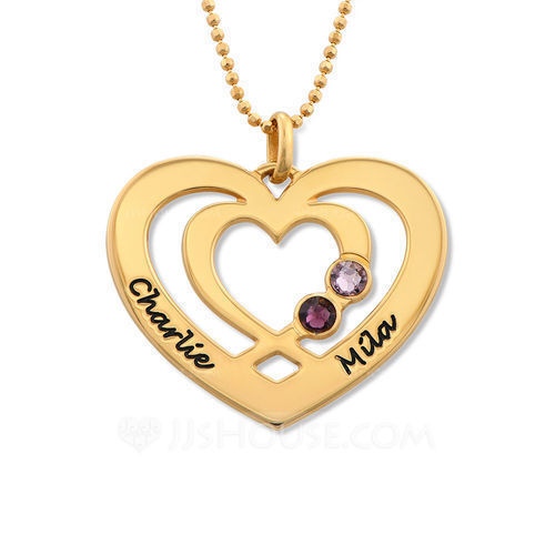 Custom 18k Gold Plated Two Name Necklace Heart Necklace Birthstone Necklace Engraved Necklace - Birthday Gifts Mother's Day Gifts