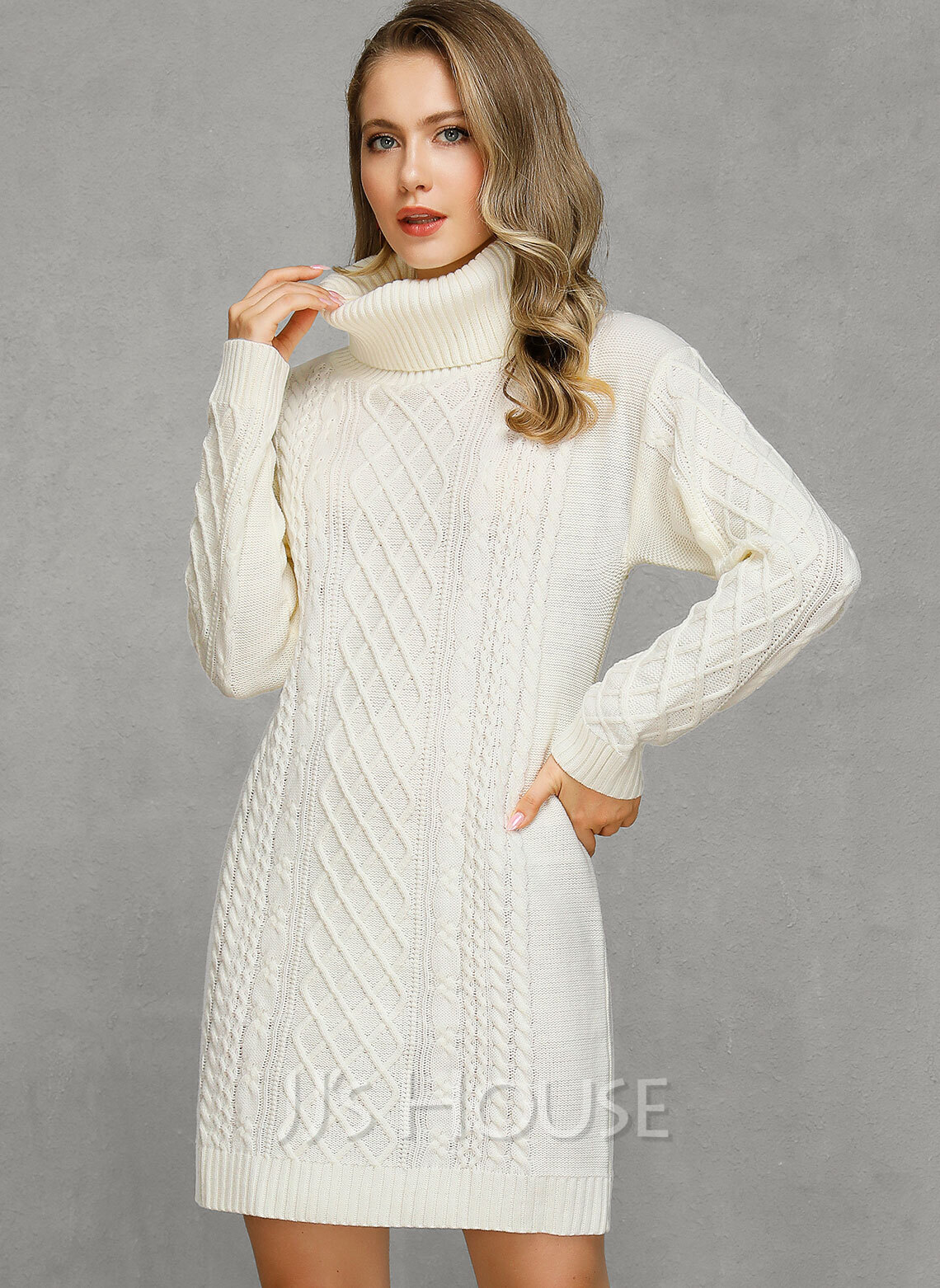 Cable-knit Solid Cotton Turtleneck Pullovers Sweater Dresses Sweaters