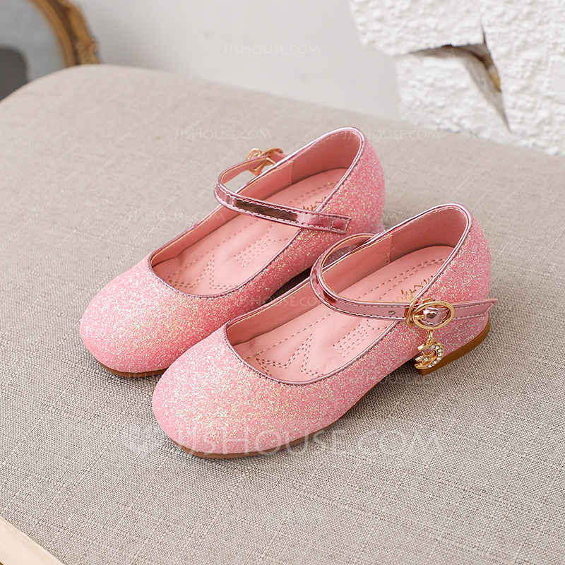Girl's Round Toe Closed Toe Leatherette Low Heel Flats Sneakers & Athletic Flower Girl Shoes With Buckle Sparkling Glitter