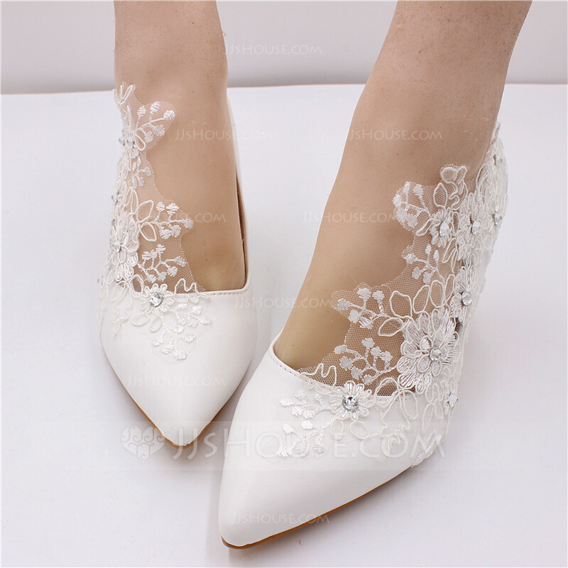 Women's Leatherette Stiletto Heel Pumps With Rhinestone Satin Flower