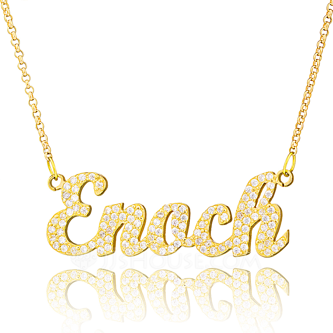Custom 18k Gold Plated Silver Name Necklace With Diamond - Christmas Gifts