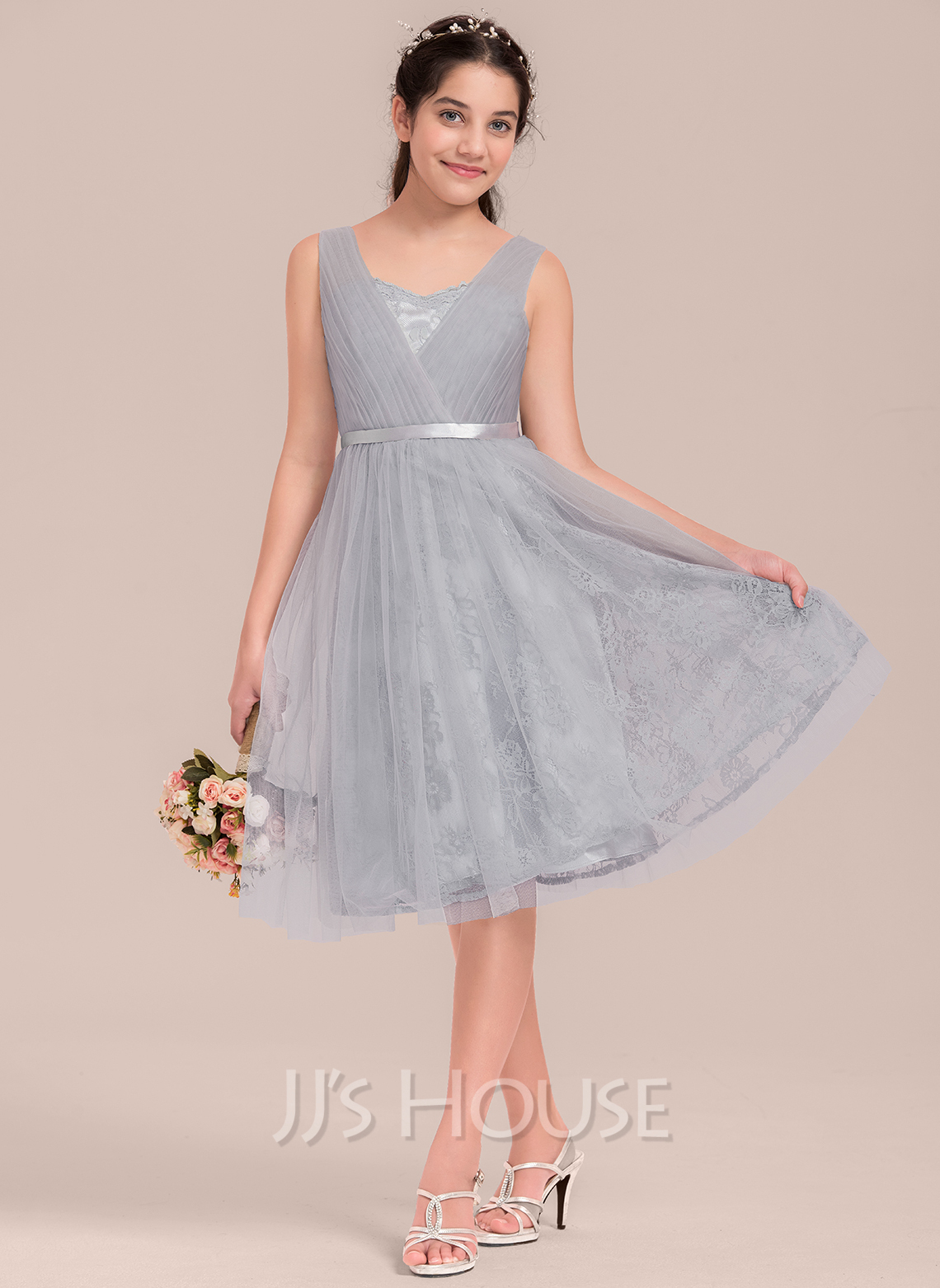 A-Line Sweetheart Knee-Length Tulle Junior Bridesmaid Dress With Ruffle