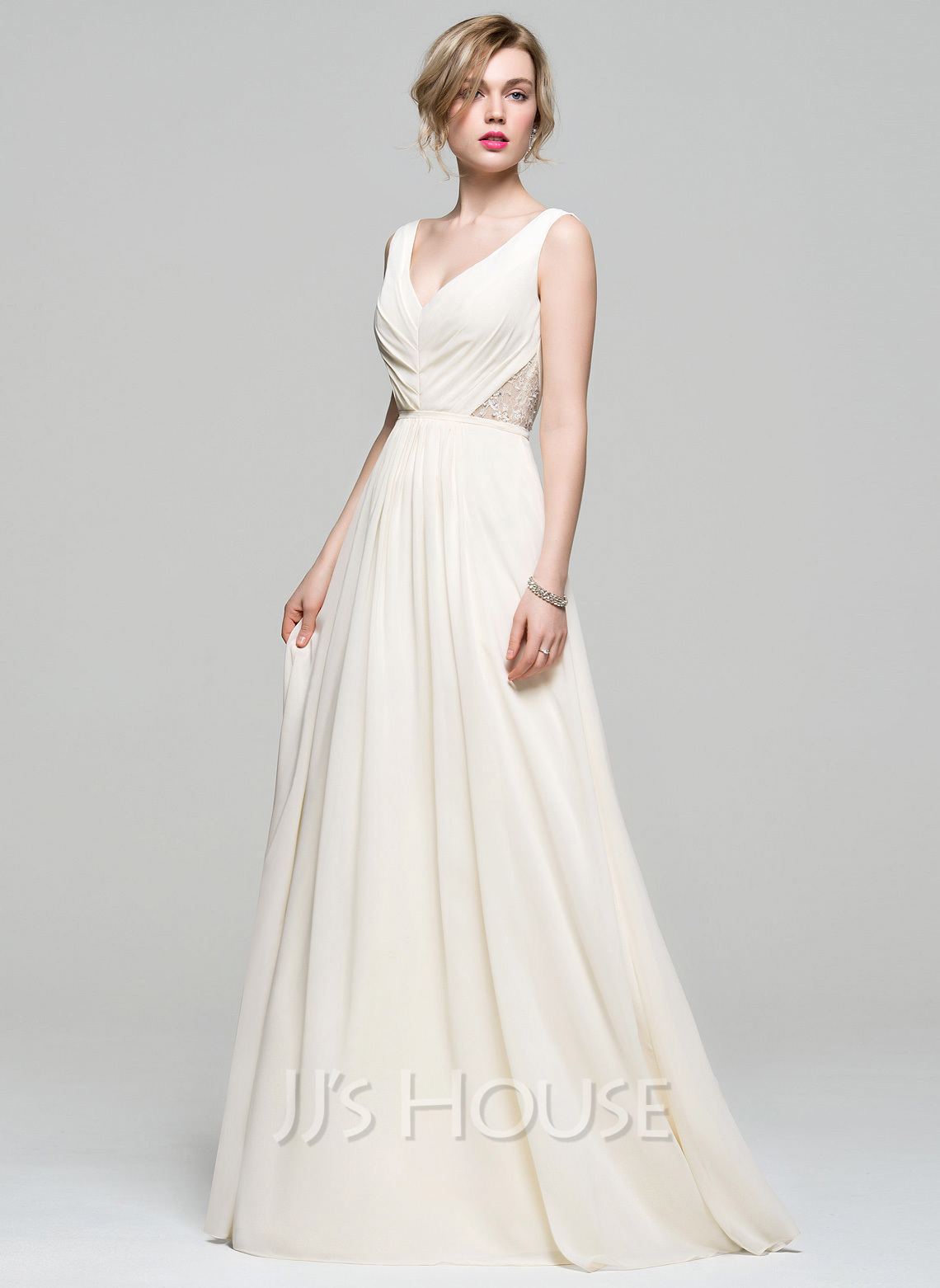 A Line Princess V Neck Floor Length Chiffon Bridesmaid Dress With Ruffle Loading Zoom