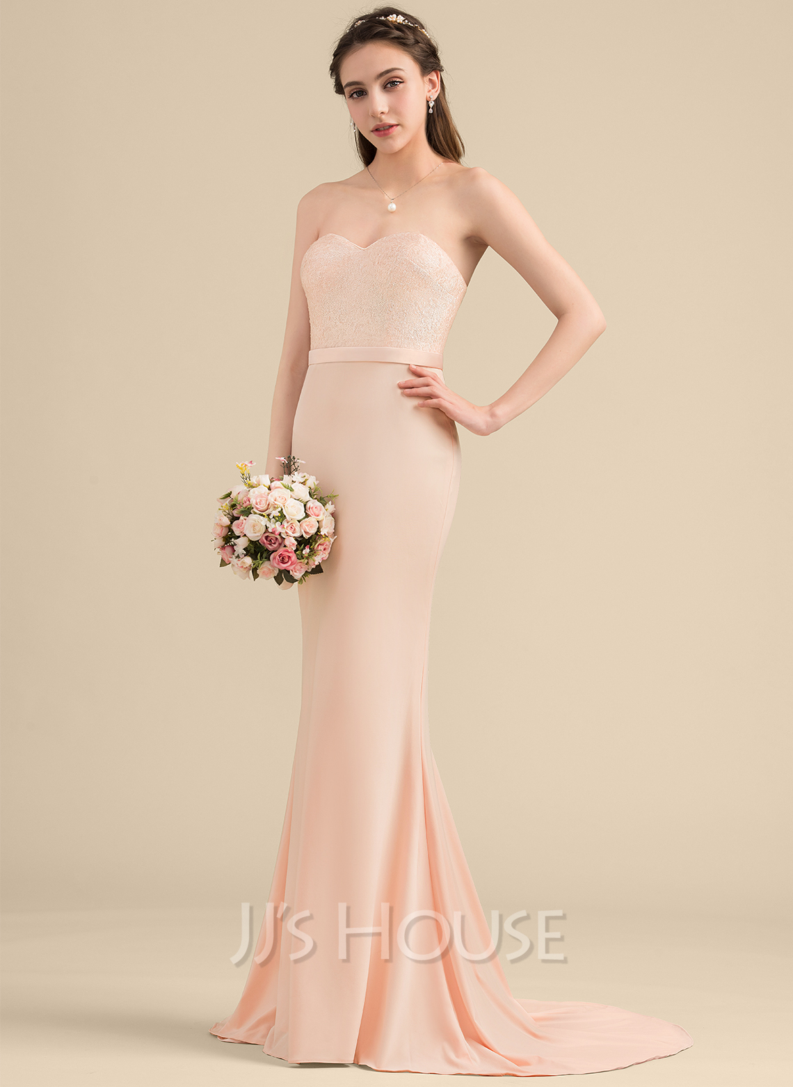 Trumpet/Mermaid Sweetheart Sweep Train Sequined Jersey Bridesmaid Dress