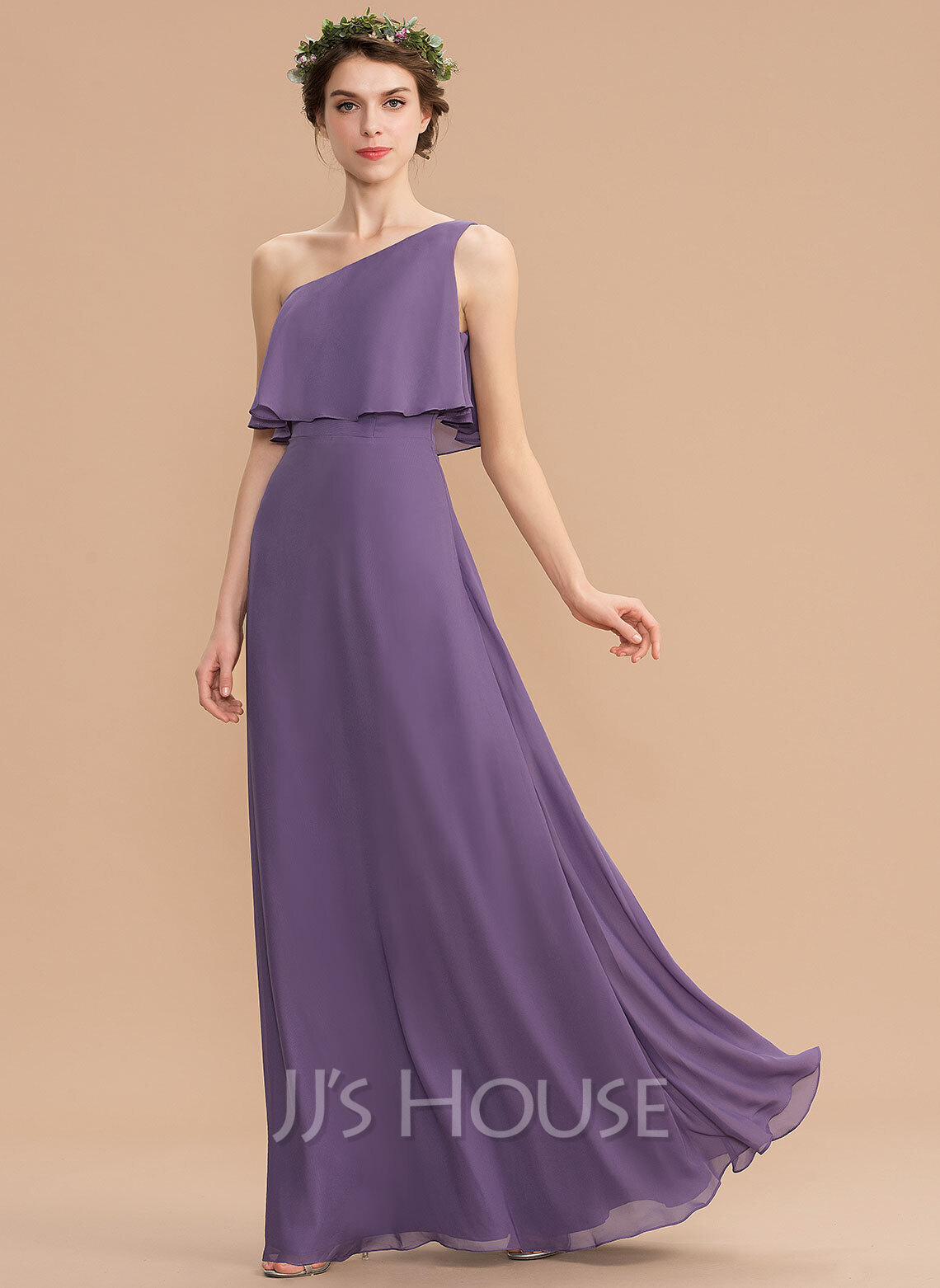 d5fc3de70623c A-Line One-Shoulder Floor-Length Chiffon Bridesmaid Dress (007165844 ...