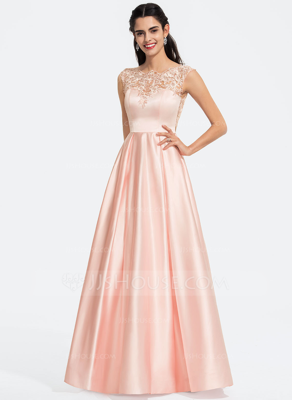 c976d4510374f A-Line Scoop Neck Floor-Length Satin Prom Dresses With Sequins. Loading zoom