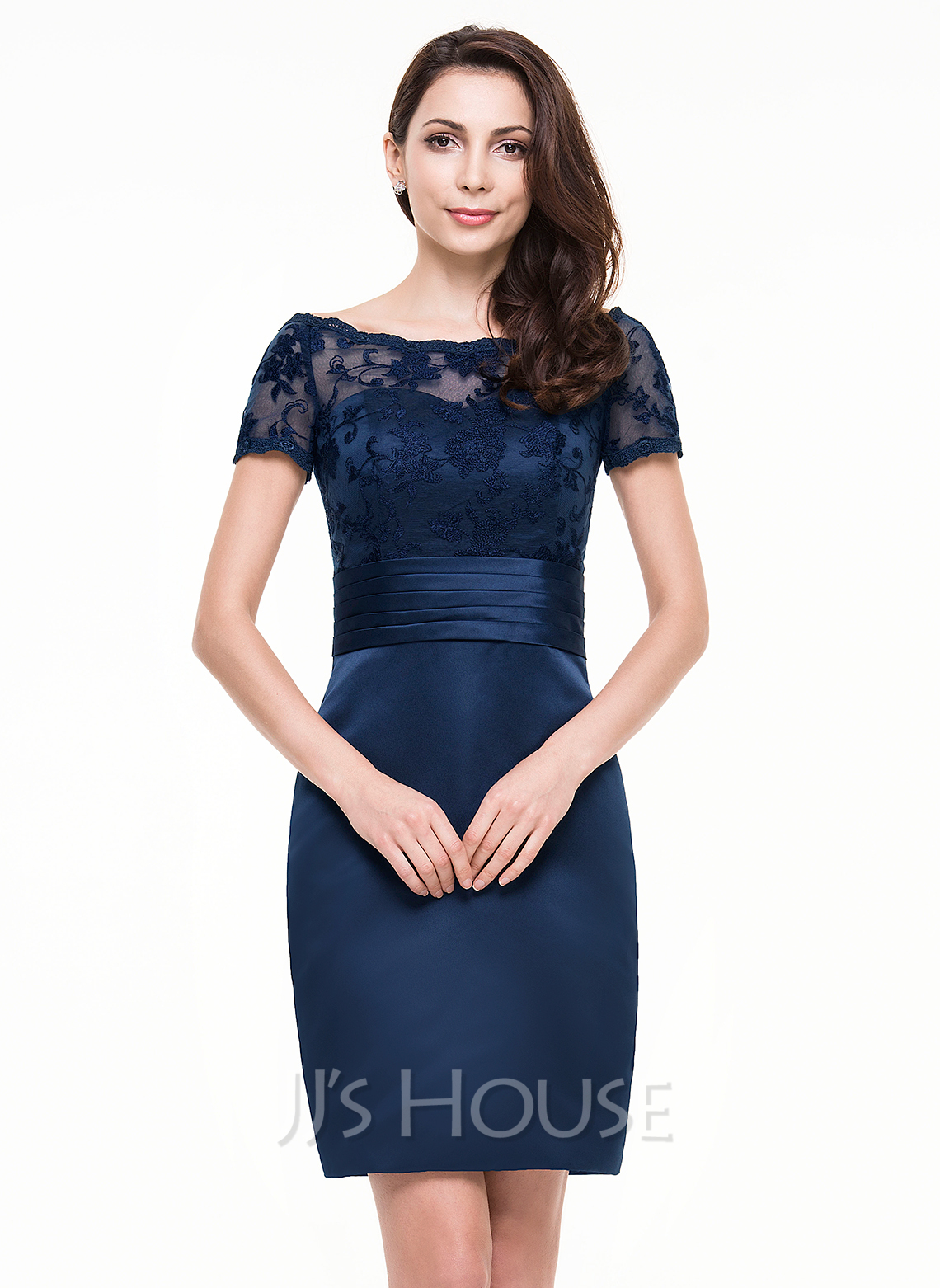 b57a507f4e11 Sheath Column Off-the-Shoulder Knee-Length Satin Lace Cocktail Dress With.  Loading zoom