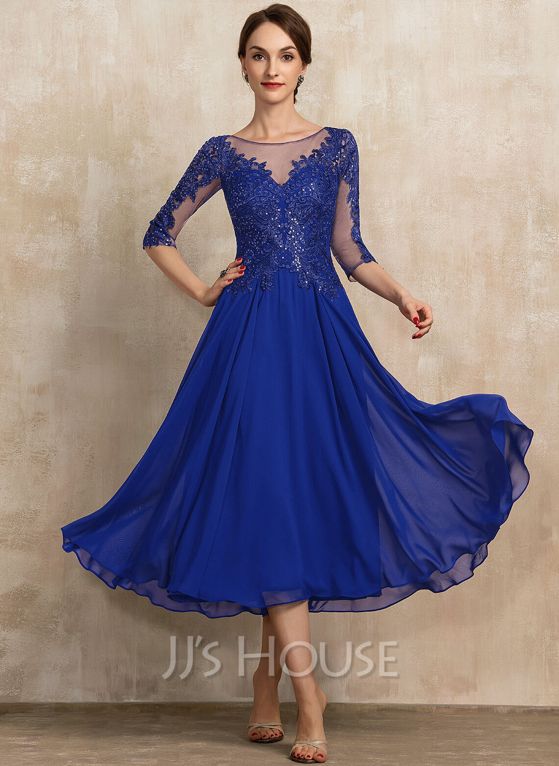 Scoop Neck Tea-Length Chiffon Lace Mother of the Bride Dress With Sequins