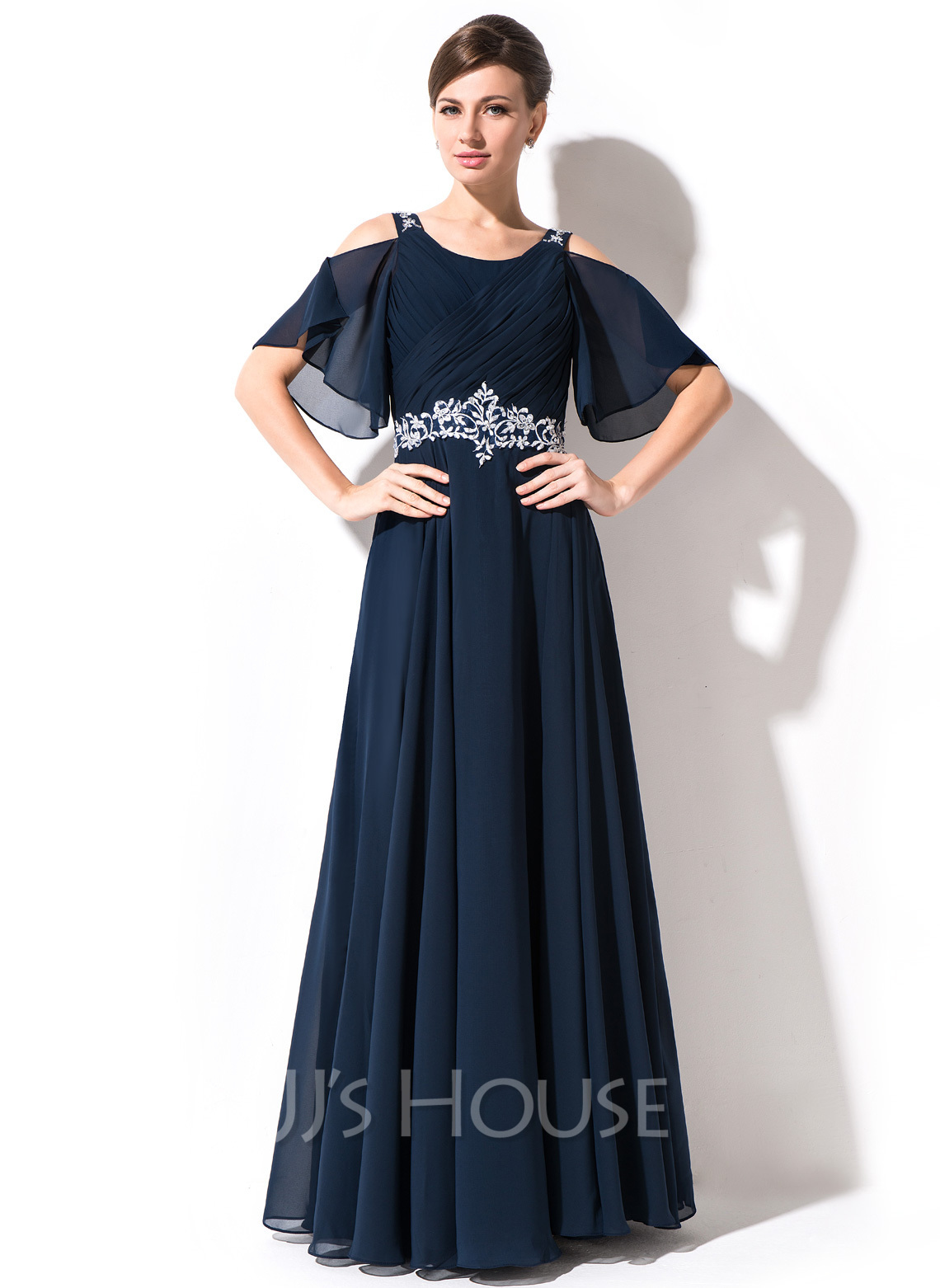 Scoop Neck Floor-Length Chiffon Mother of the Bride Dress With Lace Beading Sequins Cascading Ruffles