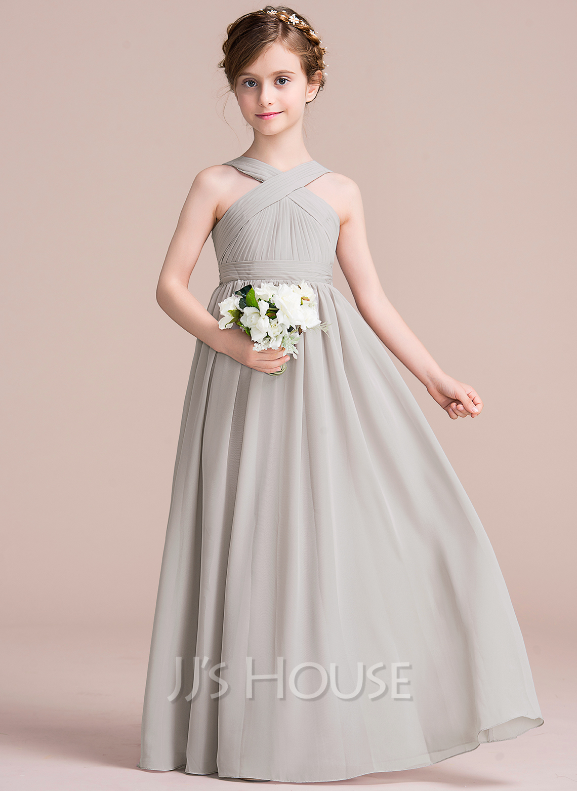 ALinePrincess Vneck FloorLength Chiffon Junior Bridesmaid