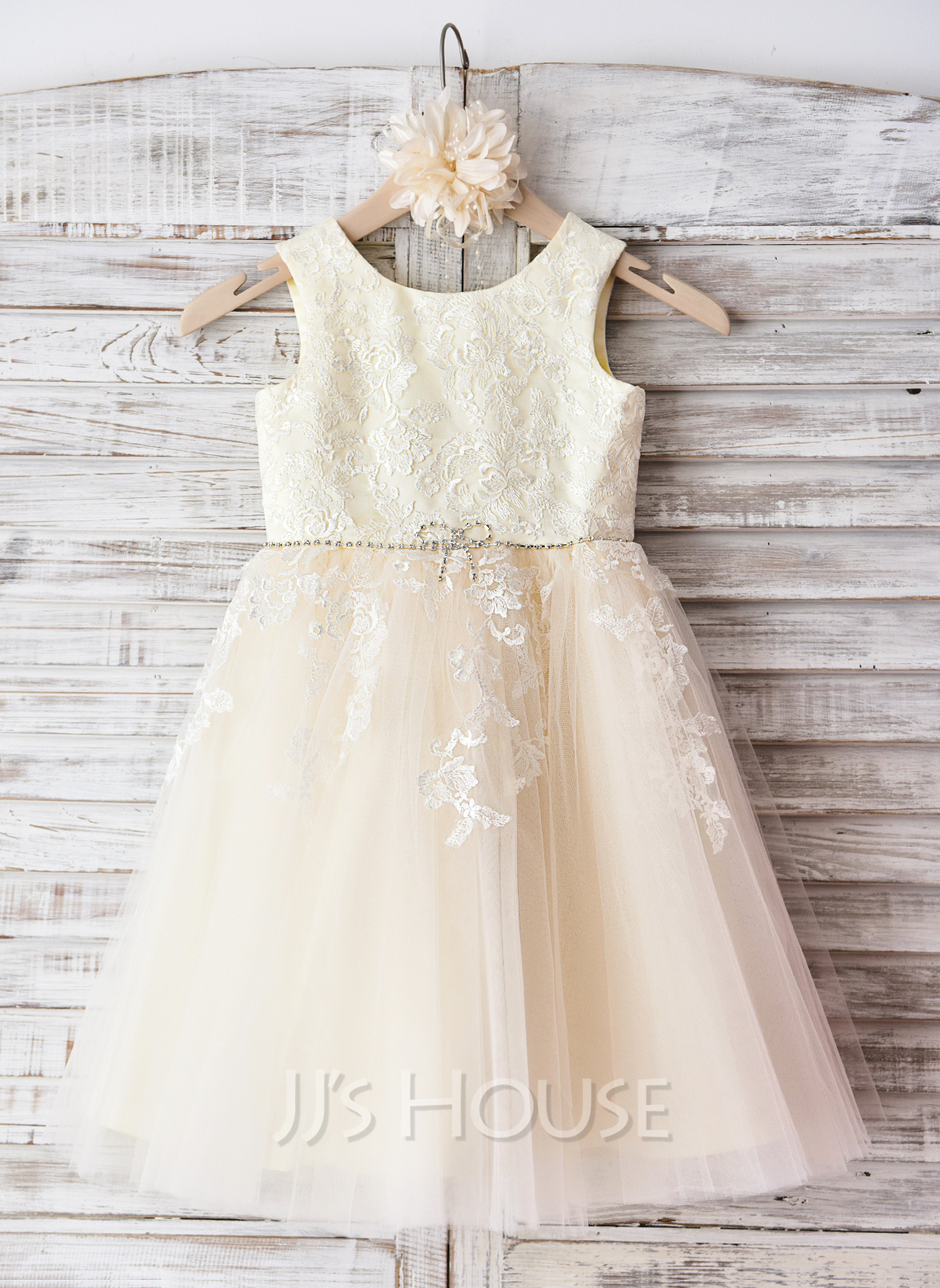 5f96f8e8f36f A-Line Princess Knee-length Flower Girl Dress - Tulle Sleeveless ...