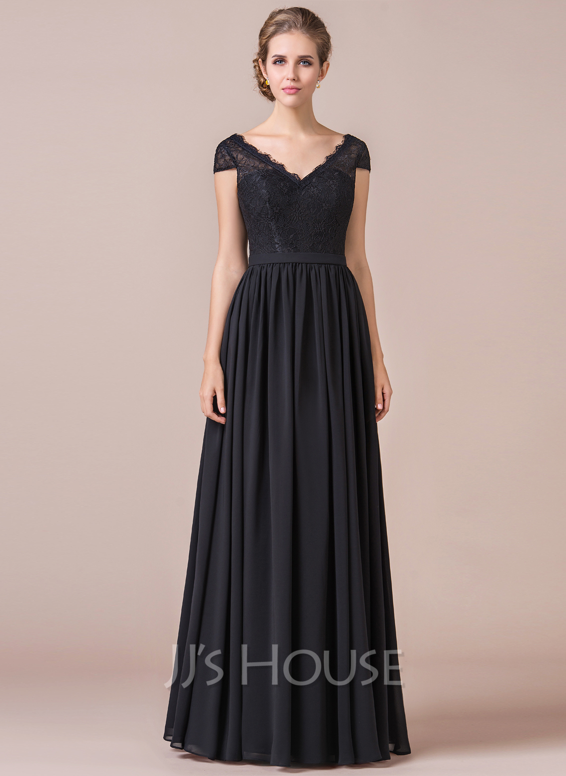 A Line Princess V Neck Floor Length Chiffon Lace Bridesmaid Dress Loading Zoom