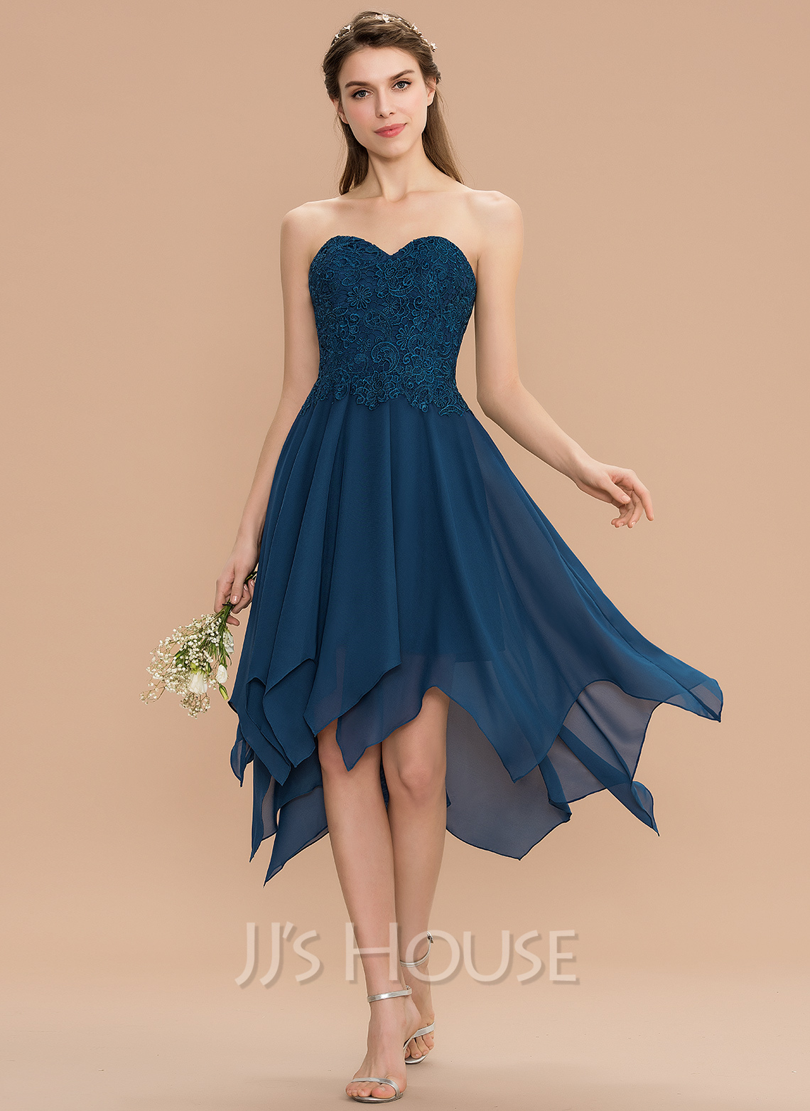 A-Line Sweetheart Asymmetrical Chiffon Lace Homecoming Dress