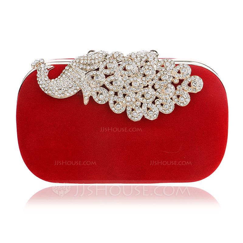 Gorgeous/Charming/Classical/Refined Crystal/ Rhinestone/Metal/Suede Clutches/Evening Bags