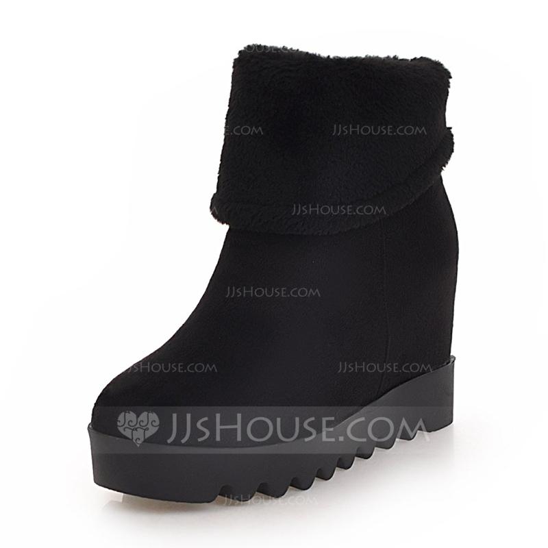 719b880227a Kvinnor Mocka Kilklack Stängt Toe Stövlar Halva Vaden Stövlar Snökängor med  Andra skor. Loading zoom