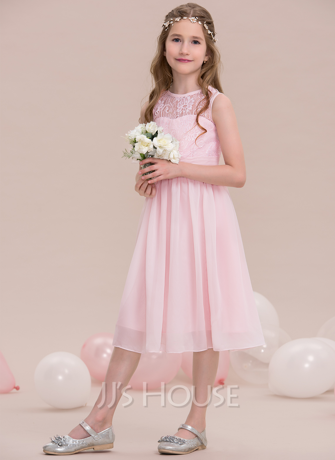 Scoop Neck Knee-Length Chiffon Junior Bridesmaid Dress With Ruffle