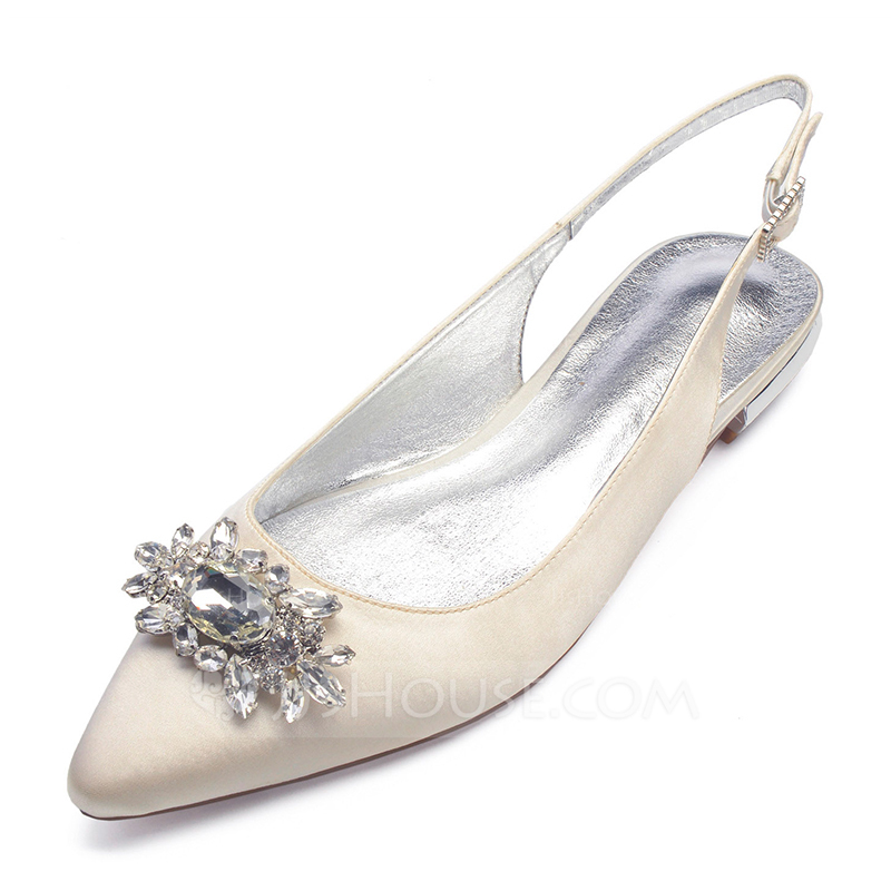 Women s Satin Flat Heel Closed Toe Flats Sandals Slingbacks With Crystal.  Loading zoom
