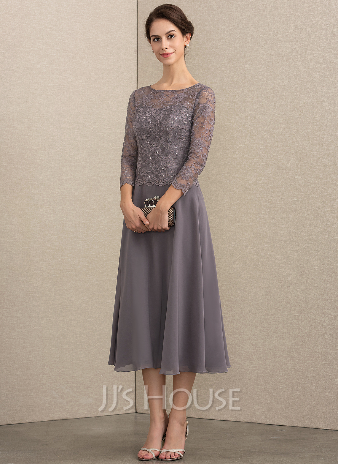 246d1667f47 A-Line Scoop Neck Tea-Length Chiffon Lace Mother of the Bride Dress With.  Loading zoom