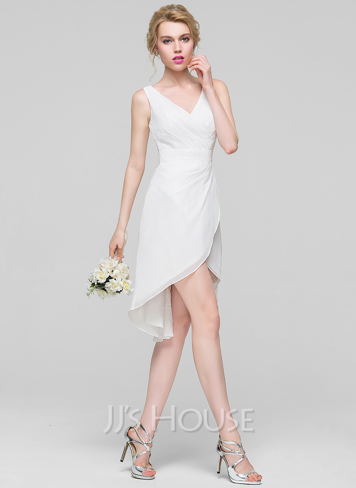 V-neck Asymmetrical Chiffon Bridesmaid Dress With Ruffle