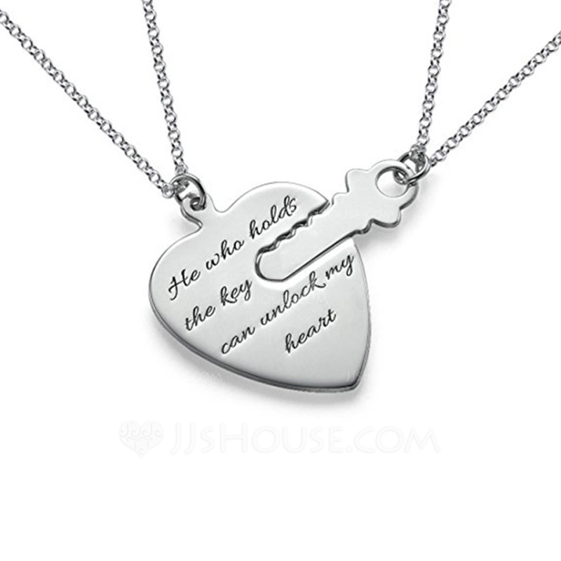 Personalized Couples Eternal Love 925 Sterling Silver With Heart Engraved Necklaces Necklaces For Bride For Couple 011207096