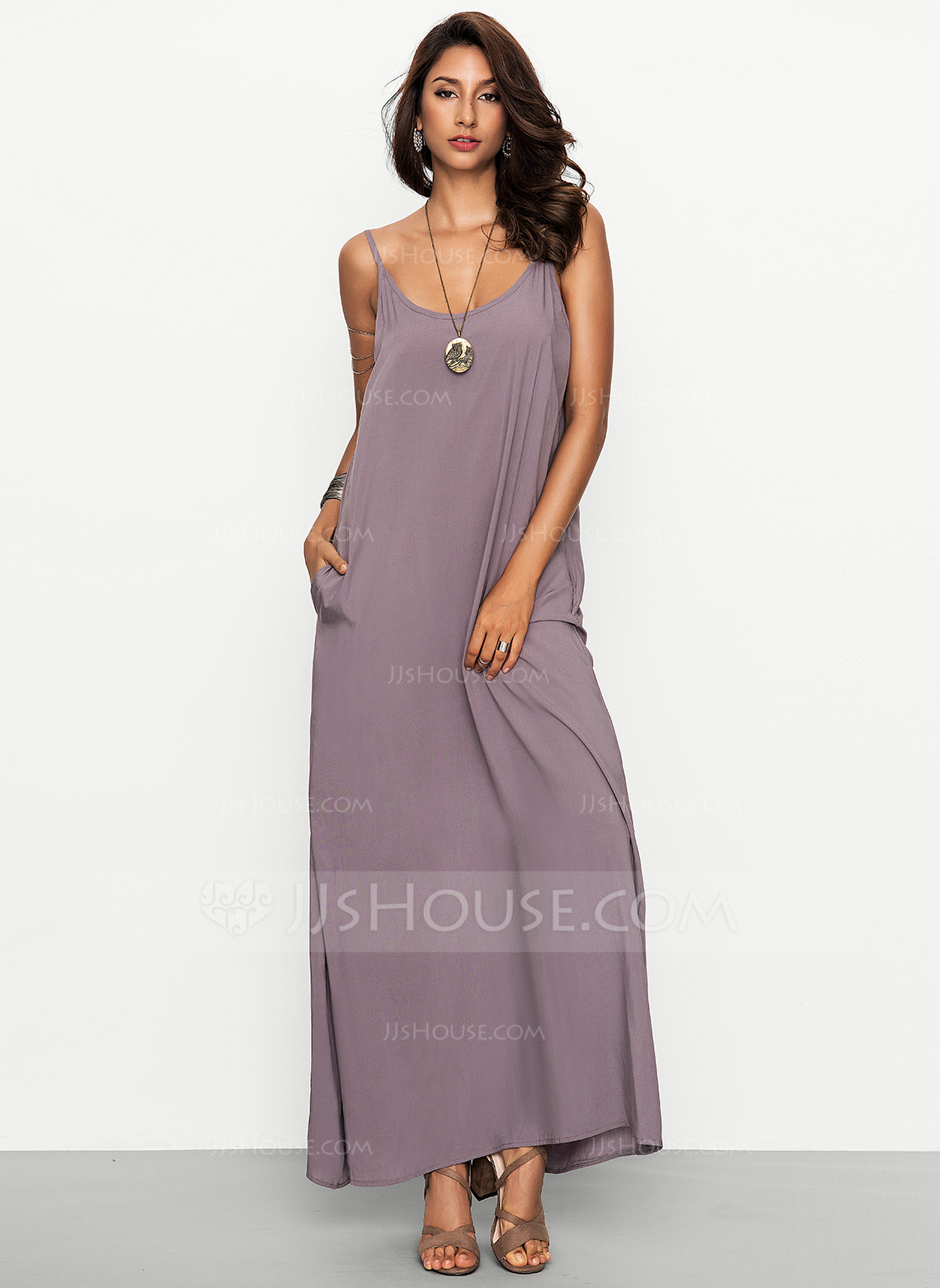Viscose With Stitching/Solid Maxi Dress