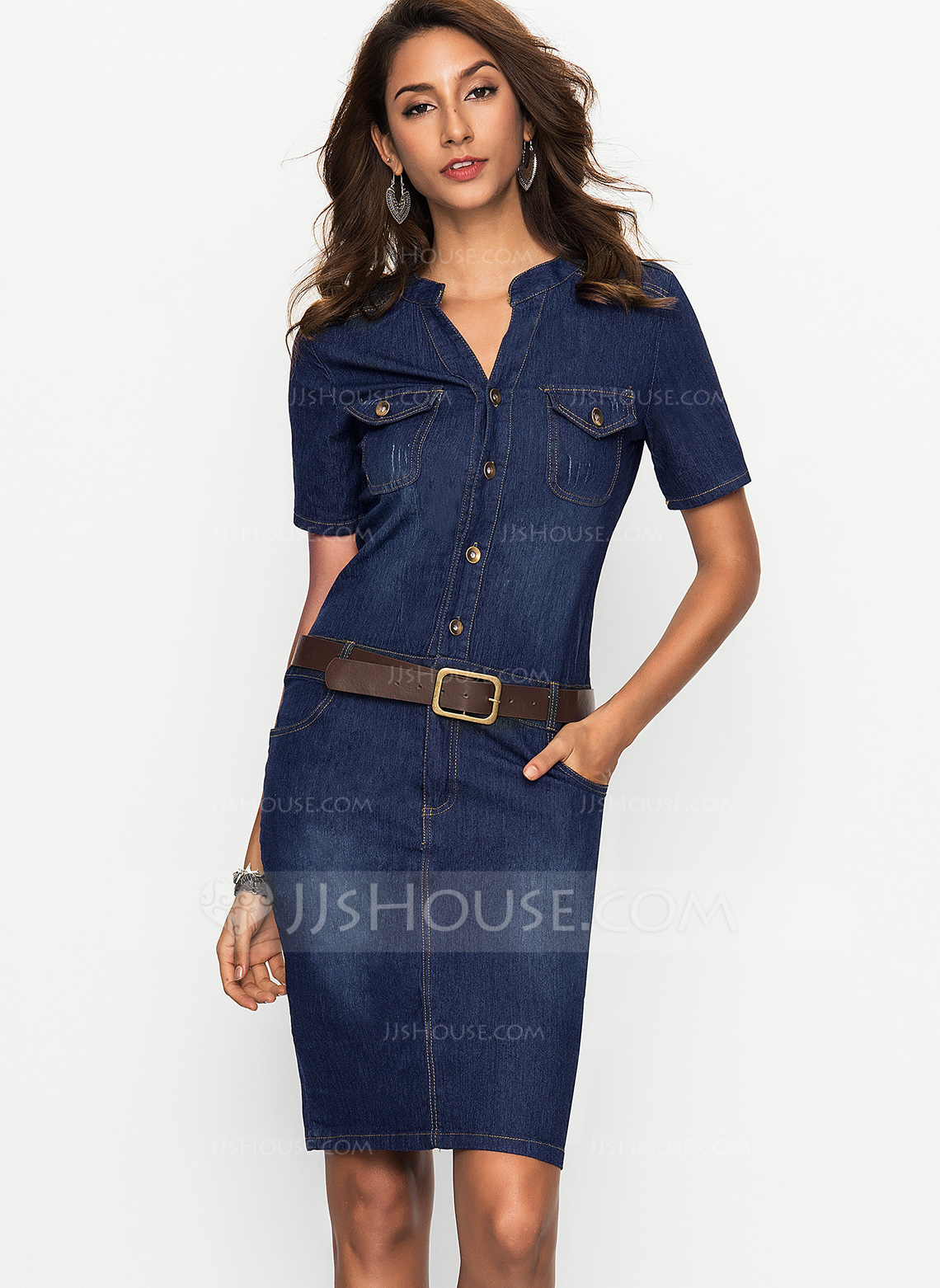 Denim With Stitching Above Knee Dress Loading Zoom: Wedding Dresses With Denim At Websimilar.org