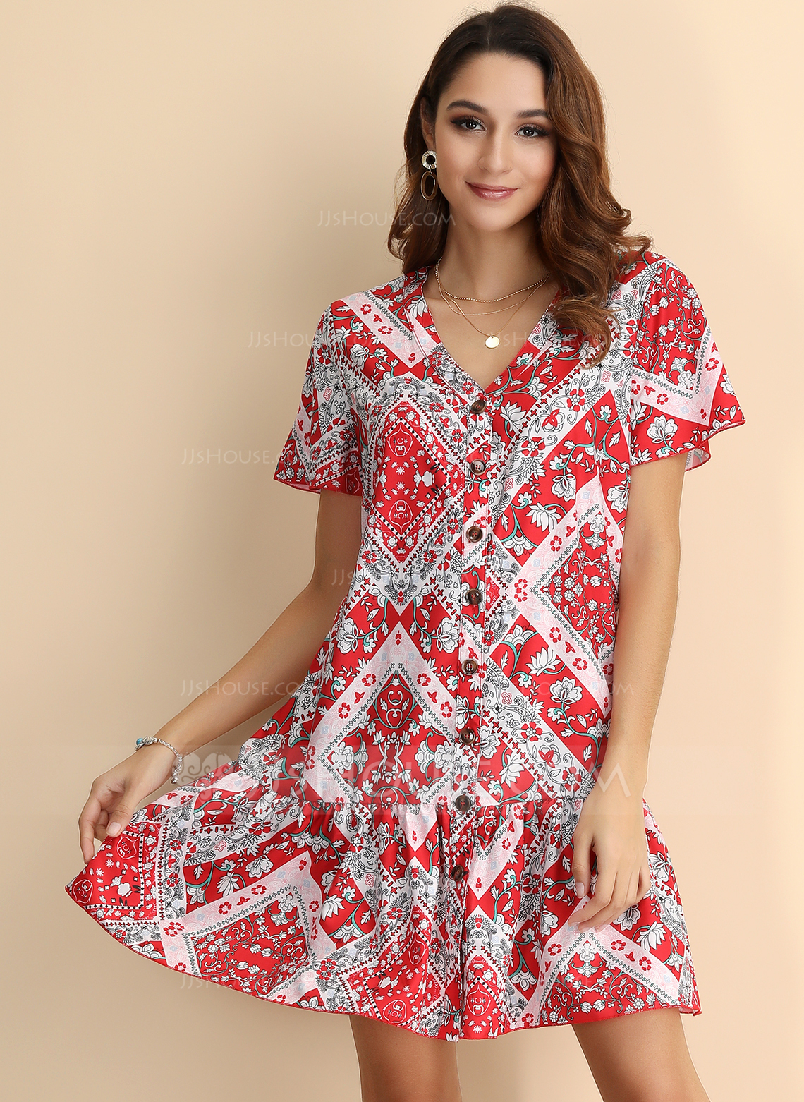 Polyester With Button/Print Above Knee Dress