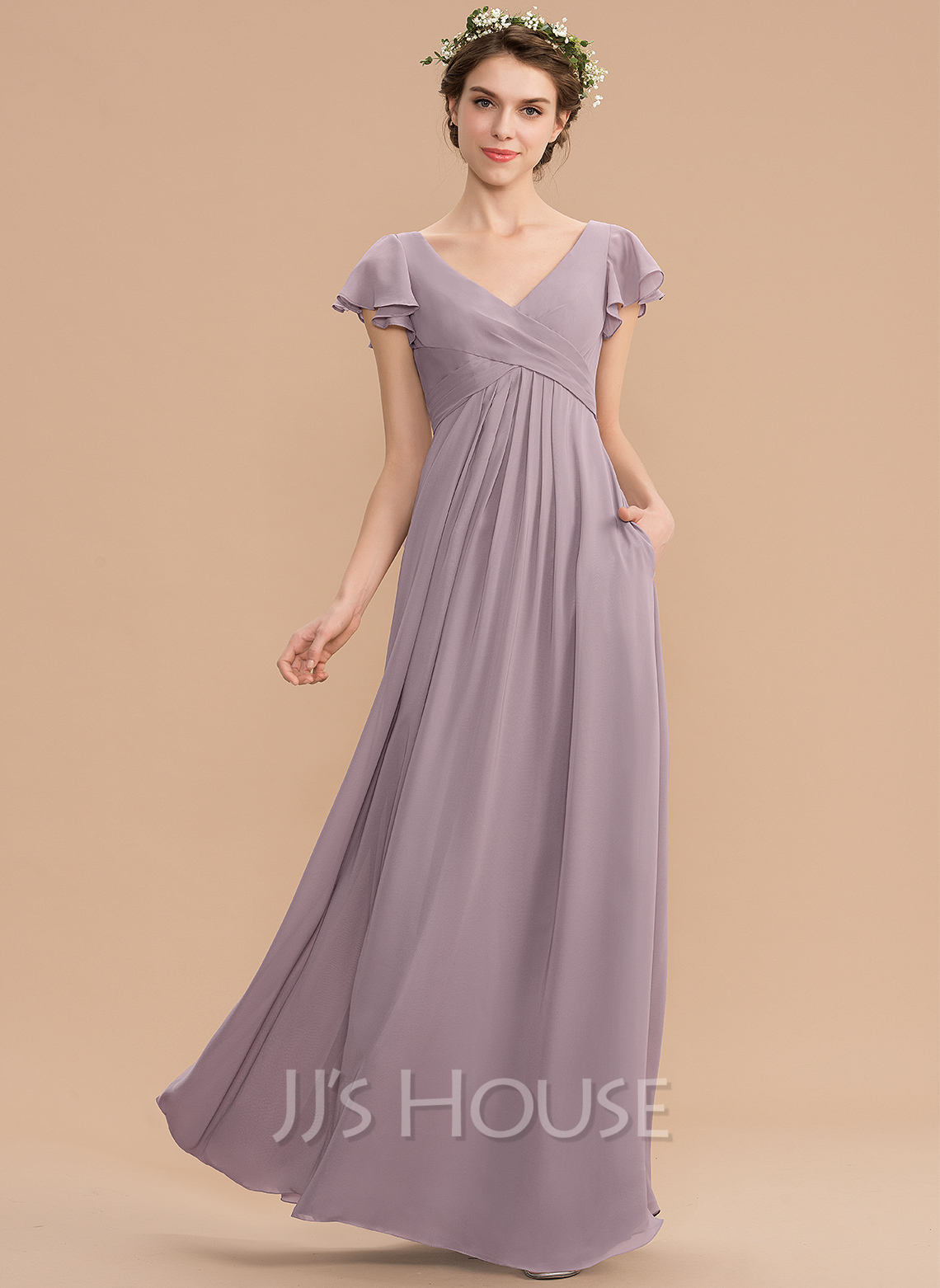 e68b3aafc4f4 A-Line V-neck Floor-Length Chiffon Bridesmaid Dress With Cascading Ruffles  Pockets. Loading zoom