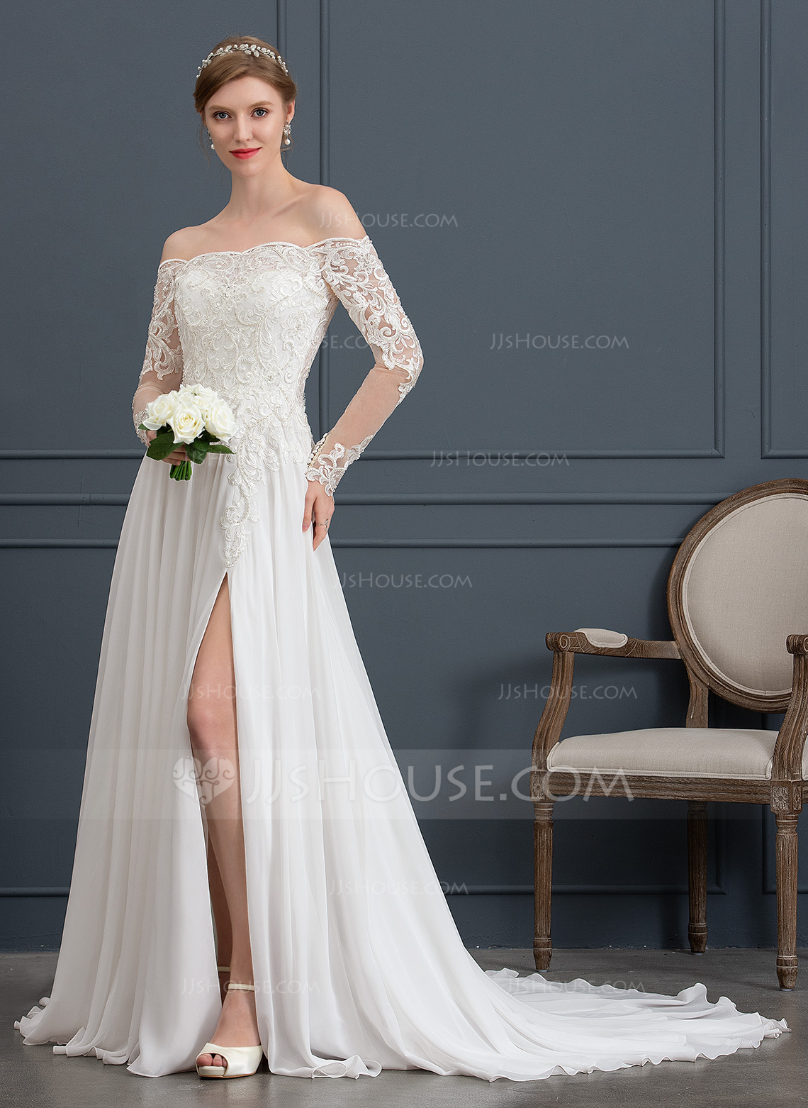 a2c4242b9a67 A-Line Off-the-Shoulder Court Train Chiffon Wedding Dress With Beading  Sequins. Loading zoom