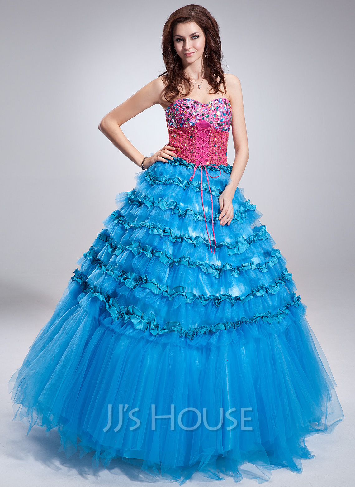 011fa1b71b93 Ball-Gown Sweetheart Floor-Length Satin Tulle Sequined Quinceanera Dress  With Beading Cascading Ruffles. Loading zoom