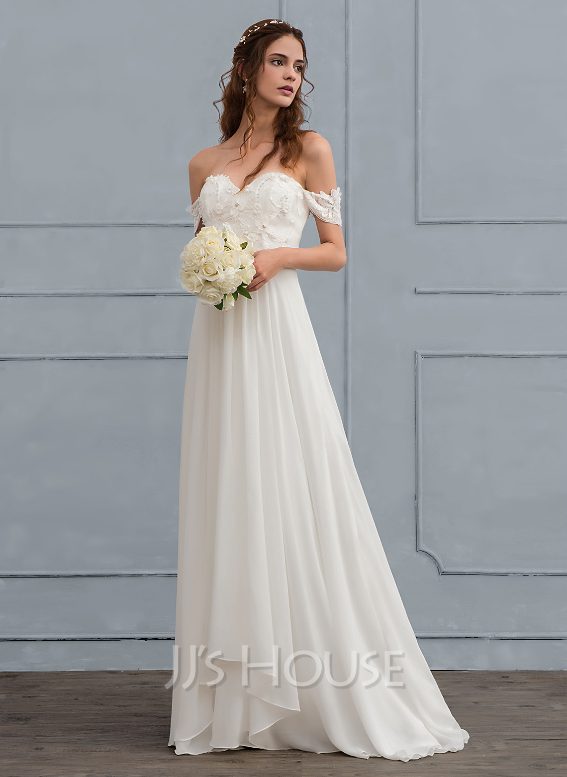 A Line Princess Off The Shoulder Sweep Train Chiffon Wedding Dress With