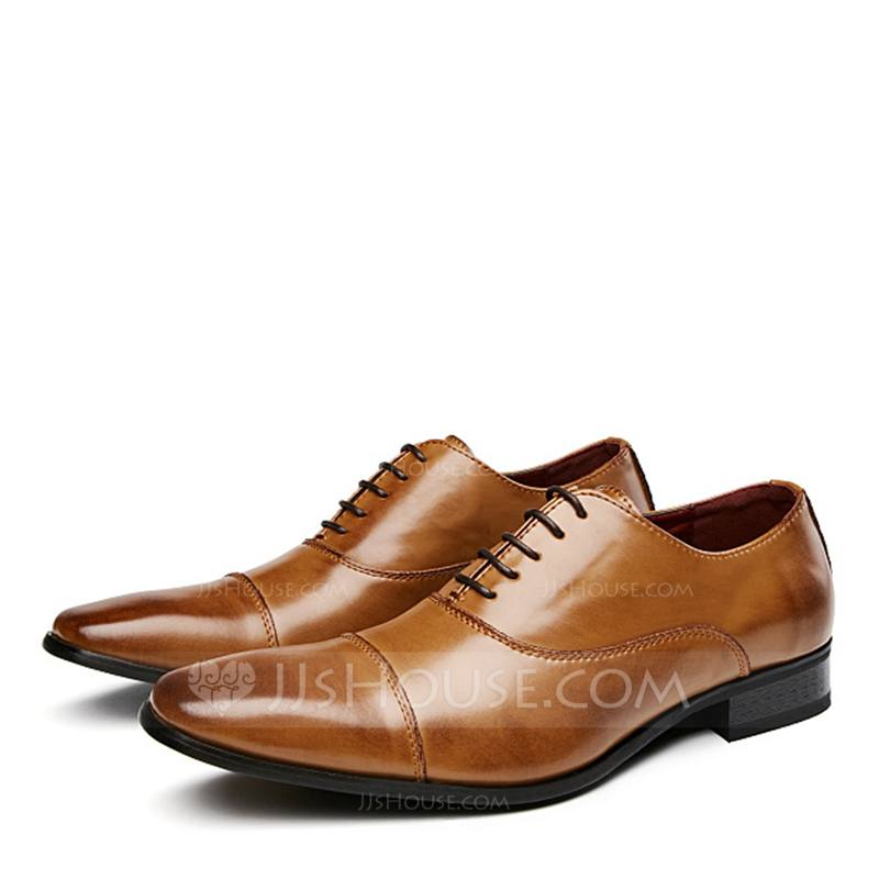 Men's Real Leather Cap Toes Lace-up Casual Dress Shoes Men's Oxfords